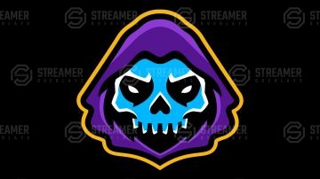 Skull reaper mascot logo for sale Streamer overlays premade mascot esports logos for sale